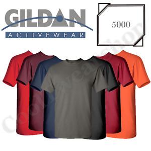 NEW Gildan Men's Heavy Cotton Plain Crew Neck Short Sleeves T-Shirt 5000 S~XL