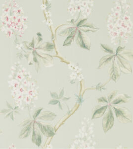 SANDERSON CHESTNUT TREE WALLPAPER 215710 COLOUR SEASPRAY/PEONY