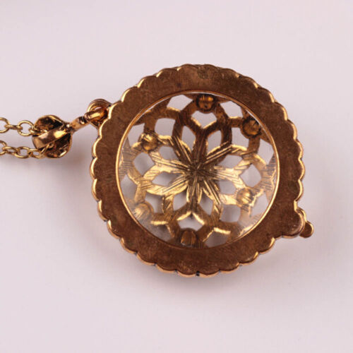 Retro Gold Chain Women Magnifying Glass Flower Design Pendant Necklace New