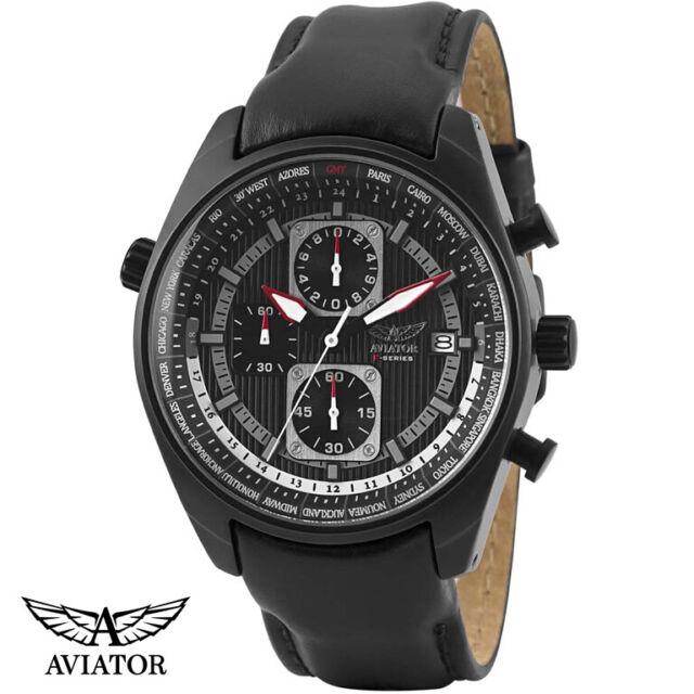 Aviator AVW1900G242 World Time F-Series Chronograph Leder Armband Uhr Herren NEU