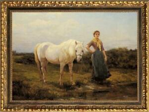 Old-Master-Art-Antique-Oil-Painting-Portrait-girl-horse-on-canvas-24-034-x36-034