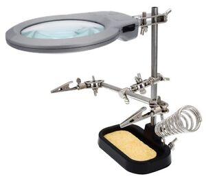 Dritte Hand mit Echtglas Lupe LED Beleuchtung und Lötkolbenhalterung