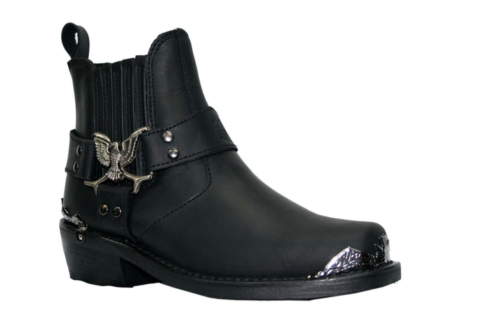 Grinders New Eagle Lo Black Mens Leather Cowboy Biker Ankle Western Boots Shoes