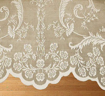 Victoria Holly Lace Net Voile Slot Top Curtain Panel With Boutique Damask Design