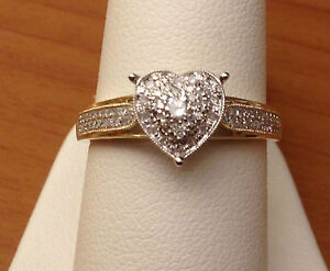 Image Is Loading 14k Yellow Gold Heart Halo Antique Vintage Style