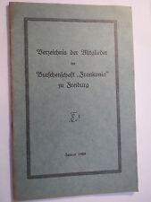 Freiburg - Burschenschaft Franconia / Frankonia - Verzeichnis 1928 / Studentika