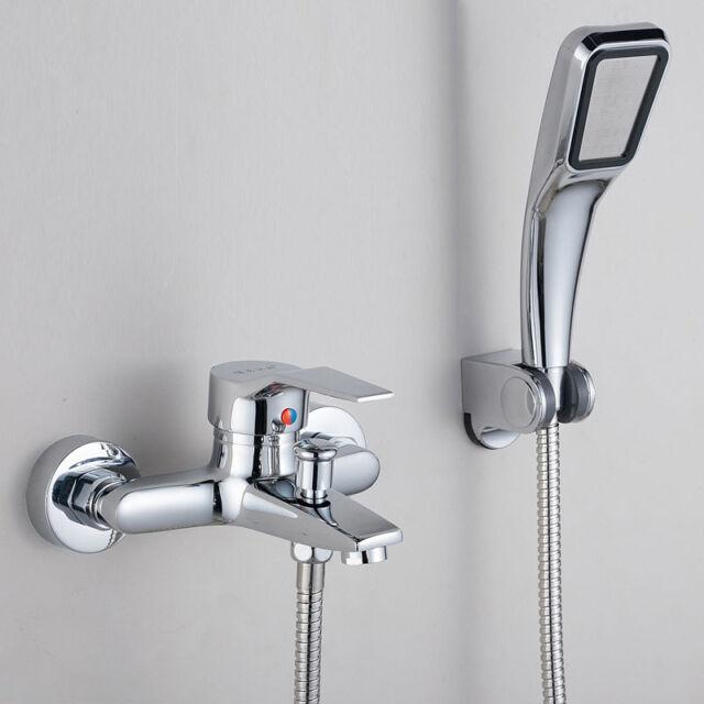 Bathroom Shower Set Chrome Brass Wall Mounted Mixer Faucet Tap/Shower Head