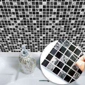 Détails sur 10Pcs 3D Mosaïque Autocollant Cuisine Salle de Bain Décor Mural  Tuile Stickers