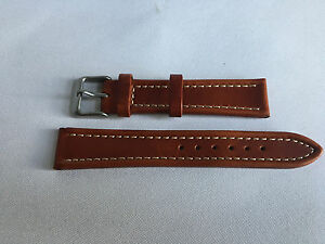 78fd7fa25 Genuine Leather 18mm Brown Watch Strap Band Gents Silver Buckle For ...
