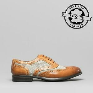 Mister-Carlo-MONTY-II-Mens-Leather-Tweed-Brogue-Lace-Up-Oxford-Shoes-Tan-Tweed