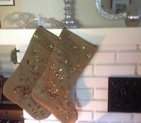 Christmas Stocking Green With Sequins silk Hobby Lobby Holiday Santa