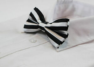 MENS-BLACK-AND-WHITE-HORIZONTAL-STRIPED-BOW-TIE-PRE-TIED-BOWTIE-WEDDING-FORMAL