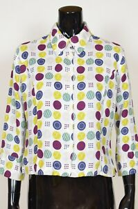 Hobbs-100-Linen-Dotted-Top-Shirt-UK-12-Large-3-4-Sleeves-White-Purple-Blue