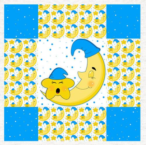 Lune et étoiles Nursery-recouvert de tissu Craft Panel