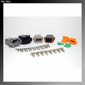 Deutsch DT 6-Pin Black /& Gray Connector Kit 14-16AWG Stamped Pins USA