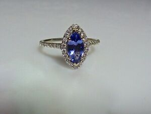 20e7f82300fd5 Details about 14CT WHITE GOLD DIAMOND AND MARQUISE TANZANITE RING AJ