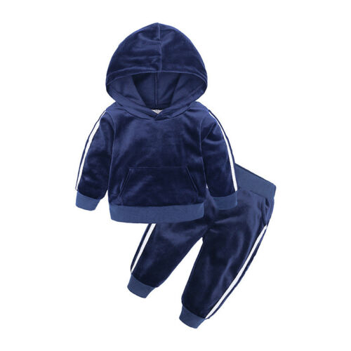 2PC Toddler Kids Clothes Boys Girl Gold Velvet Suit Sweater Pants Baby Tracksuit