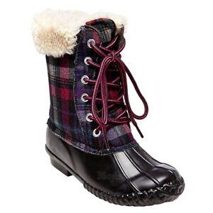 9273bd3a905 Details about Girls Stevies by Steve Madden Tall Fur Plaid Duck Rain Boots  NWOB C256