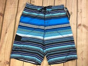 f439a925fc Burnside Men's Board Swim Shorts Blue Multi-Color Striped Size 30 | eBay