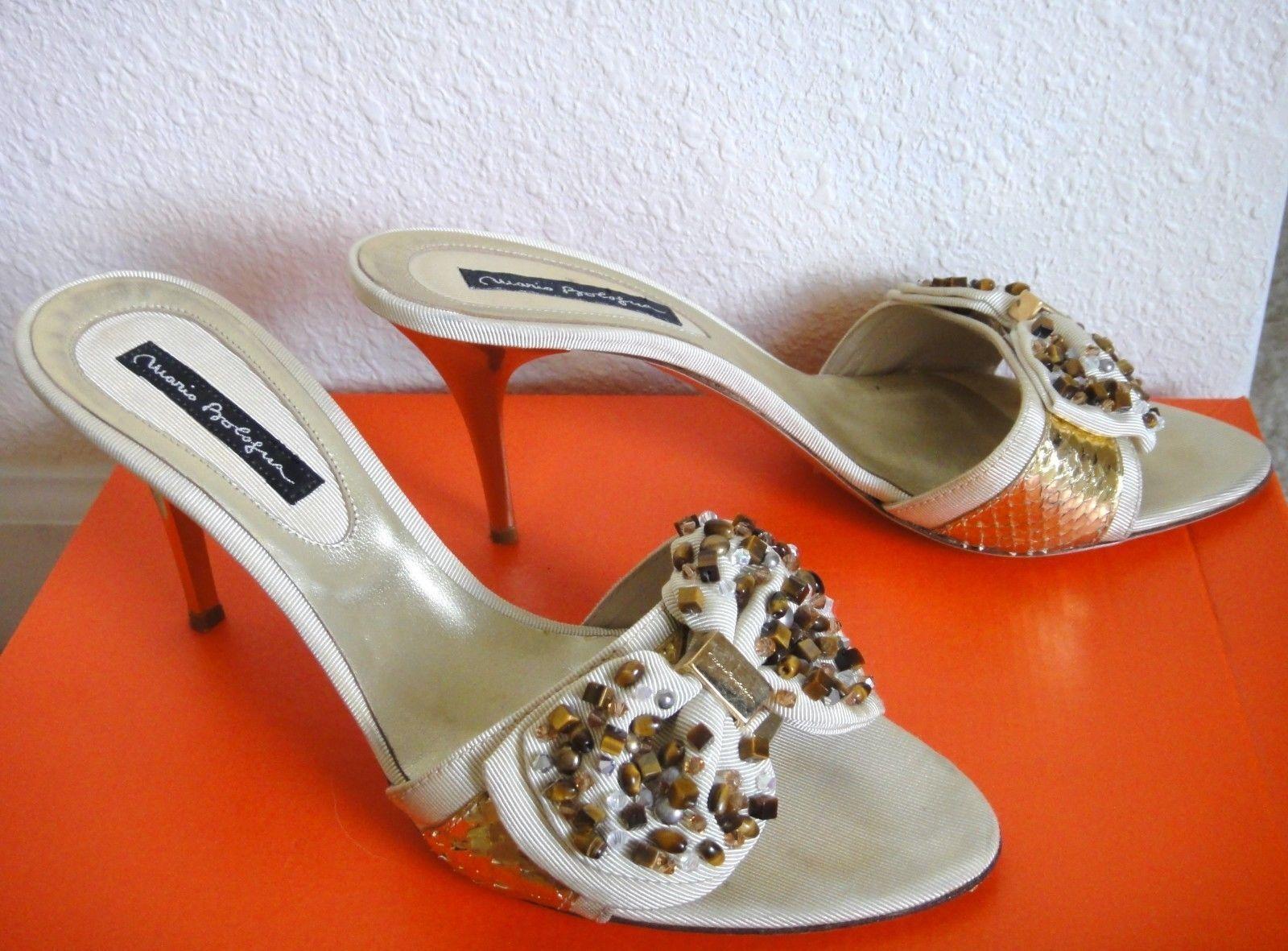 Mario Bologna Bologna Bologna joyas Arco  500 Beige antideslizante en diapositivas de oro Sandalias Zapatos 40 9 Usado En Excelente Condición  diseño único