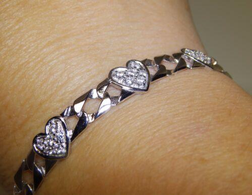 UK Hallmarked Solid 925 Sterling Silver Stone set Heart Curb 7 inch Bracelet