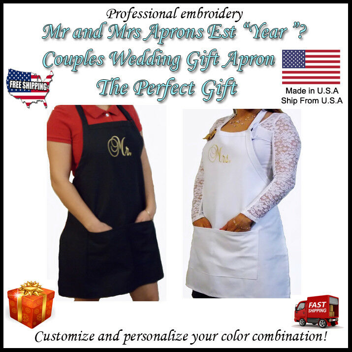 Set of TWO Cool Mr & Mrs Est. Year Personalized Embroidery Couples Wedding Gift