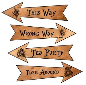 Party Arrows Alice in Wonderland party decoration set 4 grunge new larger size