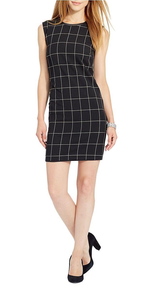 Lauren Ralph Lauren Leather Trim Sleeveless Checkerot Dress schwarz Cream  Nwt