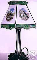 Antiques Stained Glass Lamp Shade W/base Energetic 4 Birds Of Prey