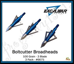 Details about EXCALIBUR CROSSBOW 100Gr 3 Blade Boltcutter Broadheads 3 Pack  #6675 Auth Dealer
