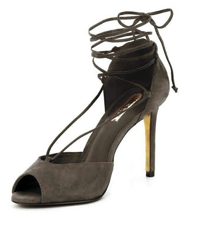 Ralph Lauren Linden Charcoal Black Suede Lace Up Peep Toe Slim Heel Sandal 11 B