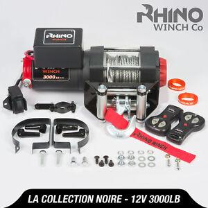 Treuil-electriques-12v-noir-Recuperation-4x4-Bateau-3000lb-1360kg-Winch-RHINO