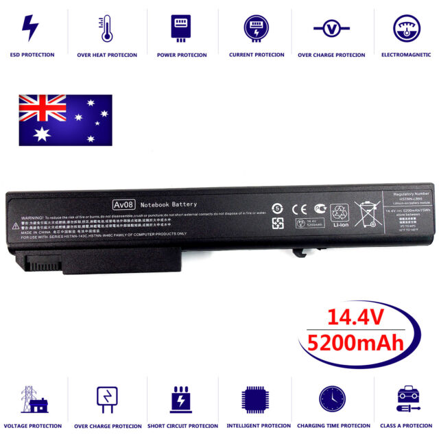 8 Cell 5.2Ah Replacement Laptop Battery for HP EliteBook 8530p 8540p 8540w 14.4V