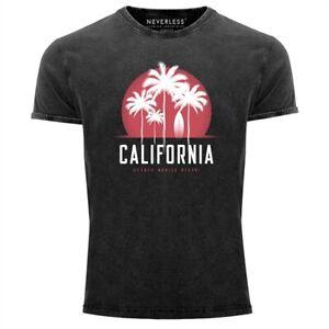 Herren-T-Shirt-California-Palmen-Santa-Monica-Beach-Sommer-Sonne-Vintage-Shirt