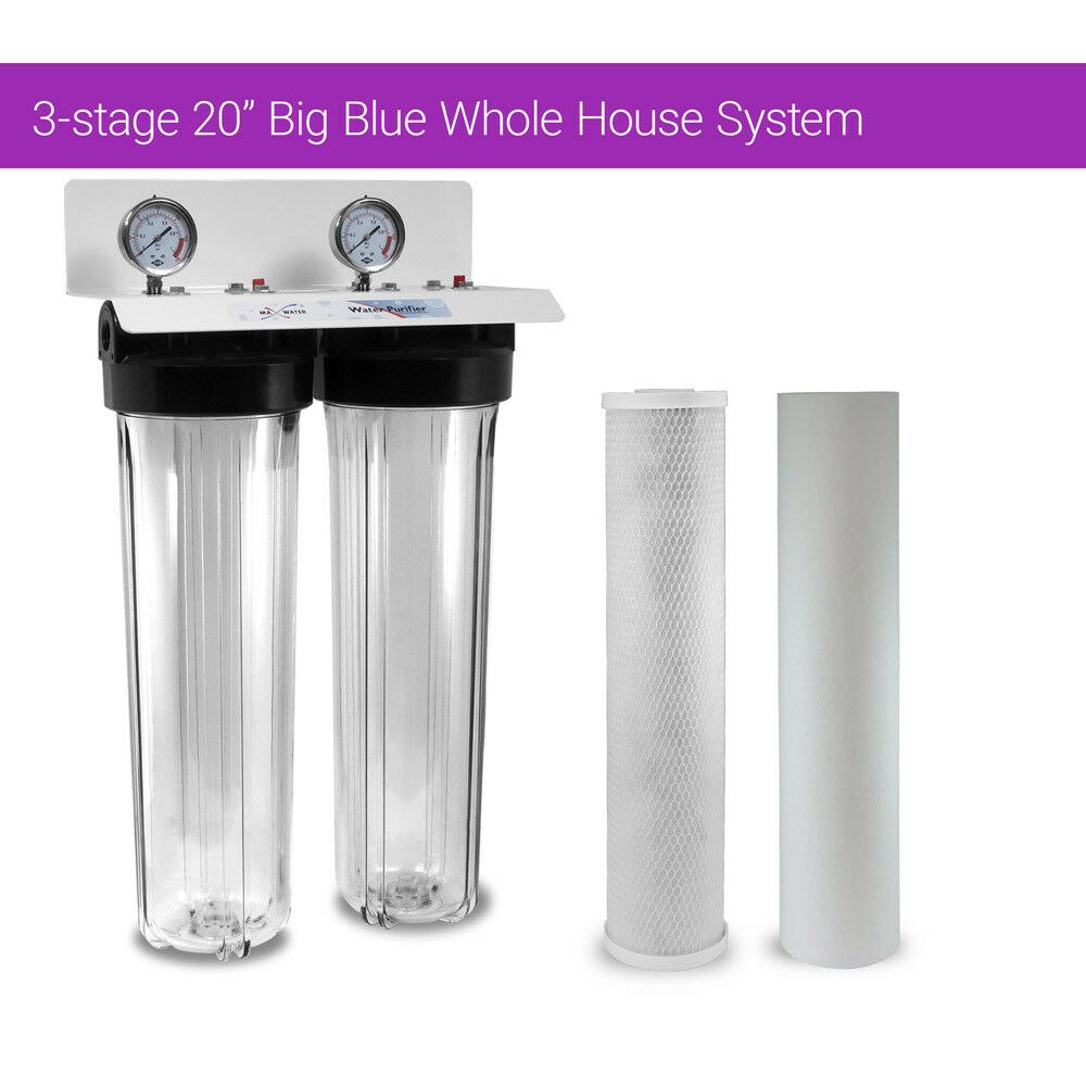 20  x4.5  BB Clear Dual 3 4 Whole House Water Sediment Carbon Filter + 2 Gauge S