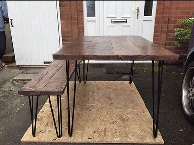 Hand Made Bespoke Modern Hairpin Retro Rustic Scaffold Dining Table & Bench
