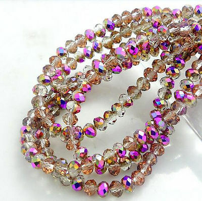 3mm 4mm 6mm 8mm New Colors Rondelle Faceted Crystal Glass Loose Spacer Beads