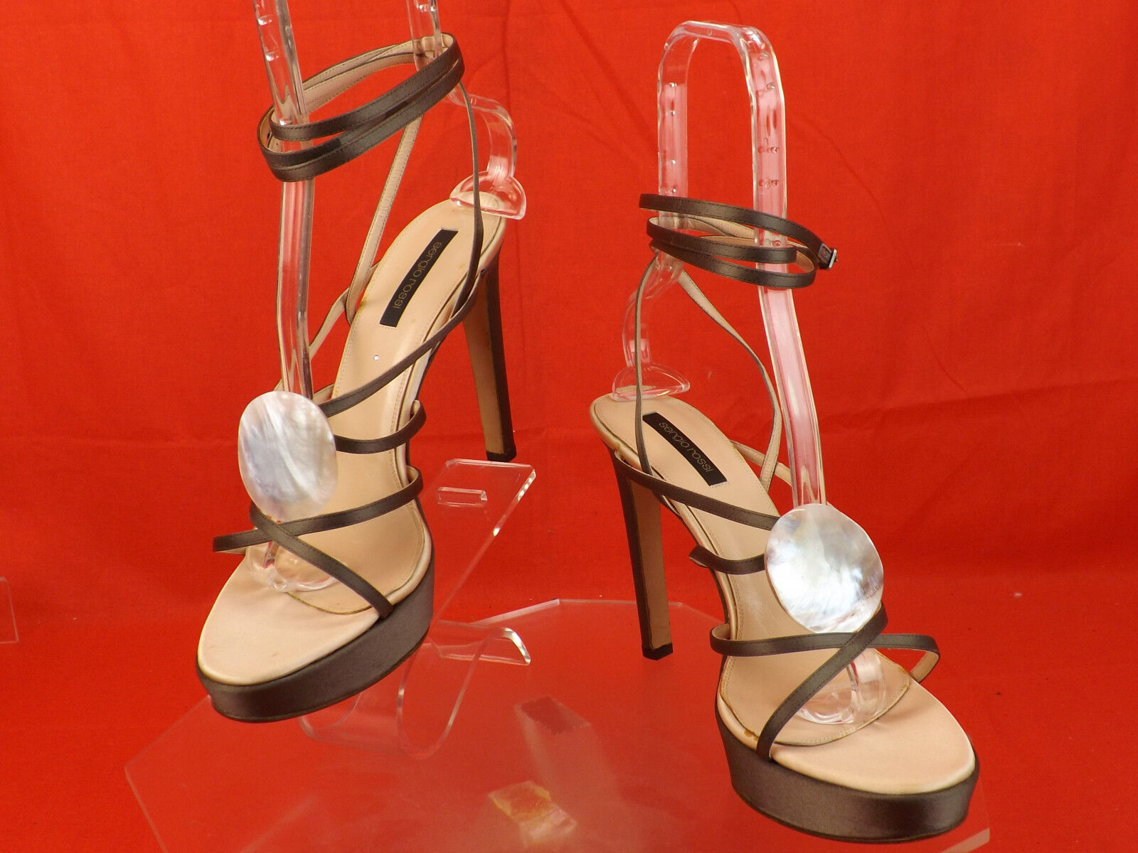NEW SERGIO ROSSI DARK GRAY SATIN CAGED ANKLE HEEL STRAPS STONES HEEL ANKLE SANDALS PUMPS 41 92cd72
