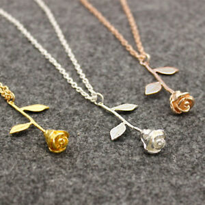 UNIQUE-GOLD-SILVER-ROSE-GOLD-BEAUTY-amp-THE-BEAST-STYLE-ROSE-PENDANT-NECKLACE