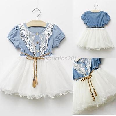 Baby Girls One piece Tutu Dress Short Sleeve Lace Gauze Skirts w/Belt Clothes