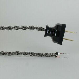12-039-BLACK-amp-WHITE-Vintage-Twisted-Cloth-Lamp-Cord-w-Antique-Style-Plug