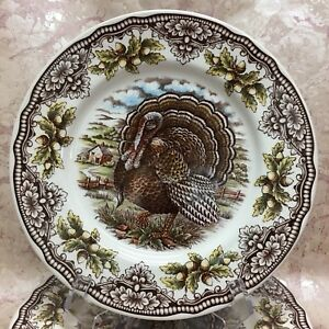 THE-VICTORIAN-ENGLISH-POTTERY-1-TURKEY-THANKSGIVING-8-5-034-SALAD-PLATE-NEW