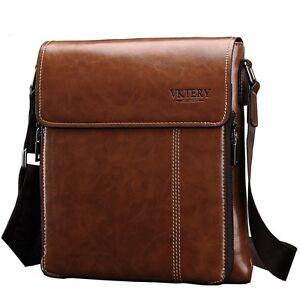 Men's Leather Satchel Tablet Shoulder Messenger Bag Slim Crossbody ...