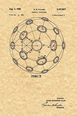 Patent Print - Buckminster Fuller Geodesic Structures 2 Prints - Ready To Frame!