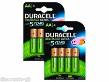 8 x Duracell AA 2500 mAh Rechargeable Batteries Ultra - 8 Pack replaces 2400