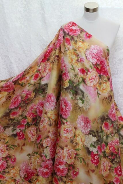 100% Charmeuse Silk Fabric Rich Peony Flower M68 Per Yard
