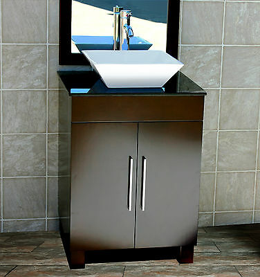 "24"" Bathroom Vanity Cabinet Black Granite Stone Top Glass Vessel Sink Faucet CMS"