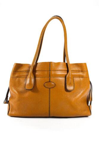 Tods Womens Leather 3 Pocket Satchel Brown Handbag