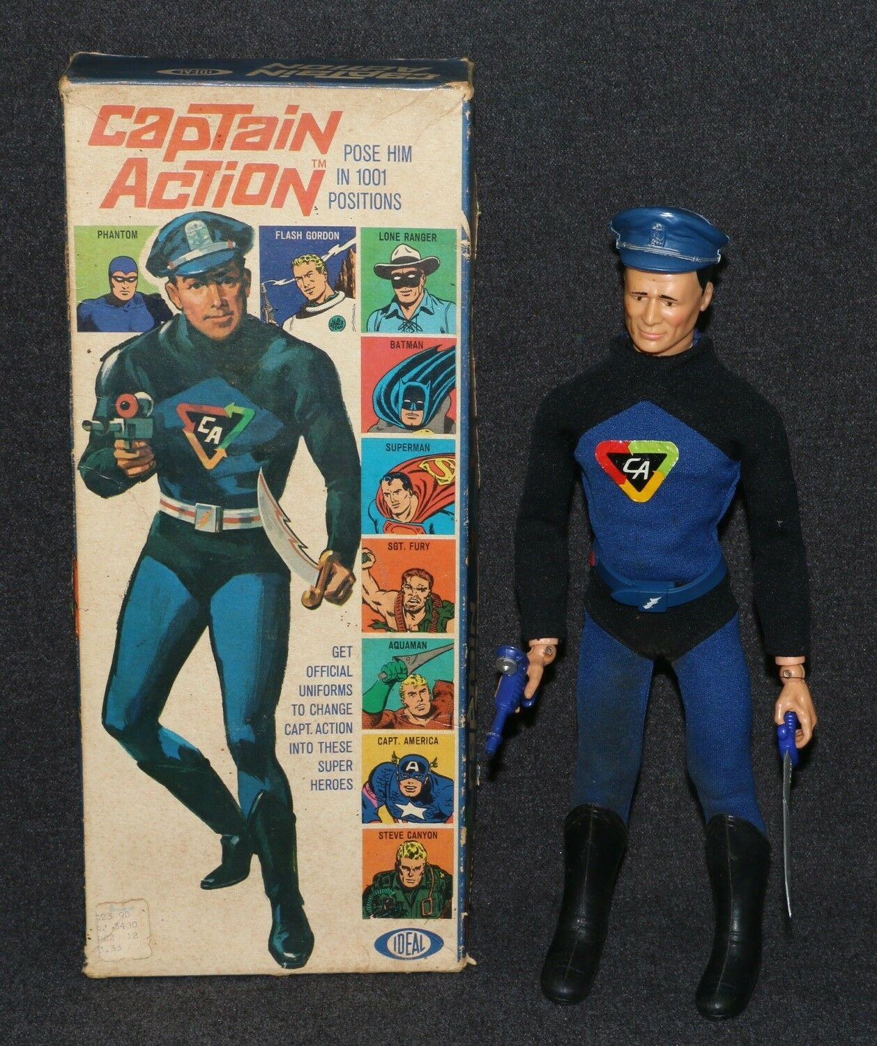 Captain Action Ideal 1966 Boxed 2nd Issue bluee Outfitted Lone Ranger A
