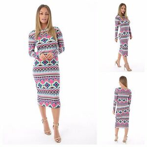 WOMENS-LADIES-LONG-SLEEVE-MULTI-AZTEC-PRINTED-BODYCON-MIDI-DRESS-PLUS-SIZE-8-22